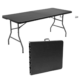 Buy 6 foot black folding table in new york